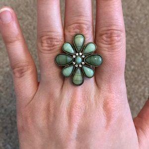 NWOT Altar'd State green flower ring